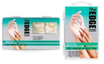 The Edge Active Natural Nail Tips - Box of 100 OR 360 Assorted Tips