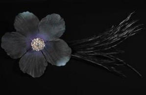 **SALE** Flower Glamour with feathers, **BLACK**