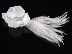 **SALE** Flower Glamour with feathers, **WHITE**