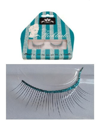 Miss Flicklash strip eyelashes **TURQUOISE**, strip lashes with flick attached. PARTY LASHES