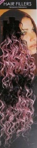 **SALE** Synthetic hair streaks highlights curly pink black 10 pieces