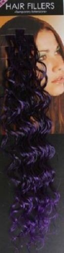**SALE** Synthetic hair streaks highlights curly purple /black10 pieces