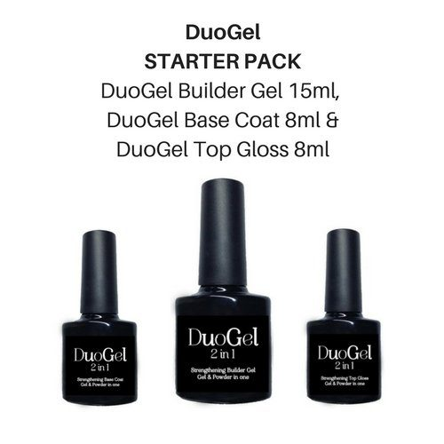 DuoGel 2 in 1 (STARTER KIT) 15ml Strengthening Builder Gel, 8ml Base Coat, 8ml Top Gloss